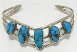 SIGNED H TURQUOISE STERLING SILVER CUFF BRACELET