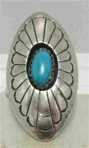 CARVISO STERLING TURQUOISE SHADOWBOX SHIELD RING