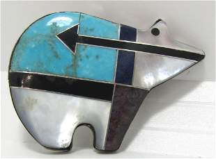 SIGNED INLAID TURQUOISE BEAR STERLING PIN NECKLACE
