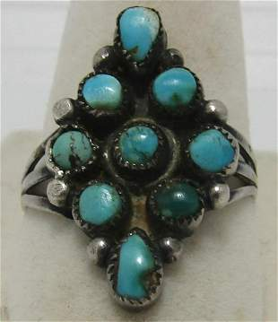 SIGNED REX TURQUOISE STERLING SILVER RING SNAKEEYE