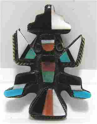 SIGNED RUE KNIFEWING DANCER TURQUOISE STERLING PIN