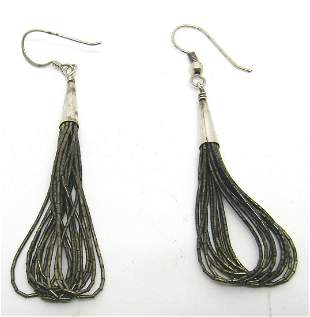 STERLING LIQUID SILVER 10 STRAND HOOK EARRINGS