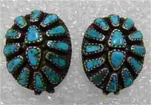 SIGNED STERLING SILVER TURQUOISE CLUSTER EARRINGS