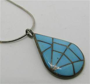SIGNED MKL GEM TURQUOISE NECKLACE STERLING SILVER