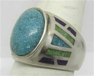 SIGNED CCO TURQUOISE CHIP STERLING SILVER RING S9