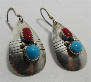 RED CORAL TURQUOISE EARRINGS STERLING SILVER