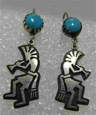 HOPI KOKOPELLI SIGNED STERLING TURQUOISE EARRINGS