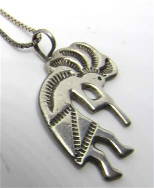 K MARK HOPI KOKOPELLI STERLING PENDANT NECKLACE