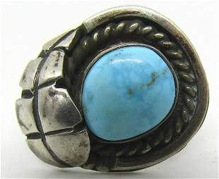 SIGNED STERLING SILVER WATERWEB TURQUOISE RING