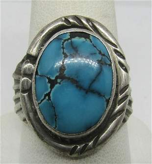 RC MARK TURQUOISE STERLING SILVER RING SIZE 10
