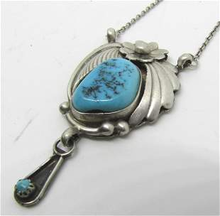 LATOME MARK STERLING SILVER TURQUOISE NECKLACE