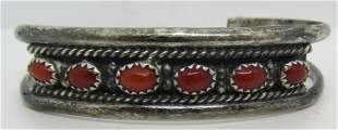 AG MARK RED CORAL STERLING SILVER CUFF BRACELET