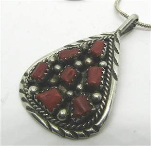 CHEE MARK RED CORAL STERLING SILVER NECKLACE
