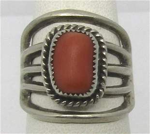 UNSIGNED STERLING SILVER RED CORAL RING SIZE 7