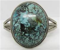 TAHE MARK TURQUOISE STERLING SILVER BRACELET CUFF