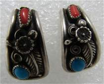RN MARK RED CORAL TURQUOISE STERLING EARRINGS