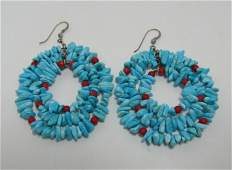 3 STRAND STERLING TURQUOISE RED CORAL EARRINGS