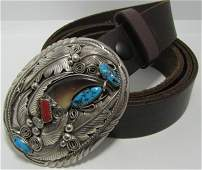 MIKE THOMAS JR BEAR CLAW STERLING LEATHER BELT
