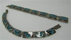 SIGNED TAXCO TWO TURQUOISE CHIP STERLING BRACELETS