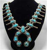 STERLING KINGMAN TURQUOISE SQUASH BLOSSOM NECKLACE