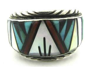 """""""R"""" MARK INLAY TURQUOISE RING STERLING SILVER"""