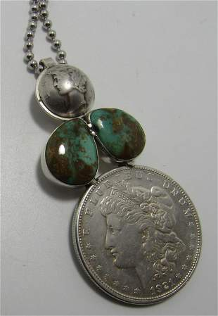 1921 US SILVER DOLLAR TURQUOISE NECKLACE STERLING