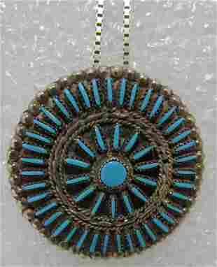 WALLACE PETIT POINT TURQUOISE PIN &NECKLACE SILVER
