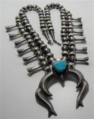 SIGNED GM TURQUOISE SQUASH BLOSSOM STERLING SILVER