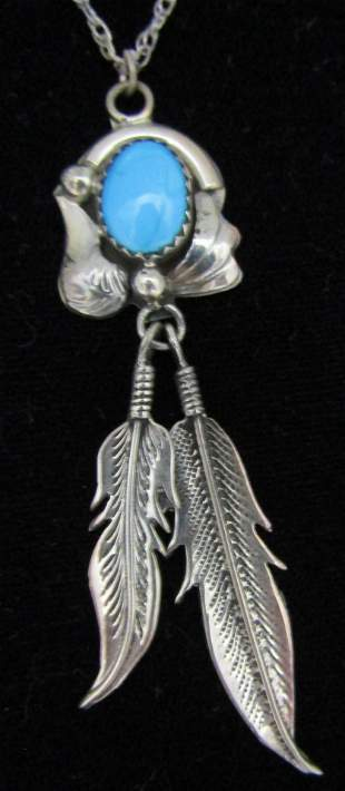 SLEEPING BEAUTY TURQUOISE NECKLACE STERLING SILVER