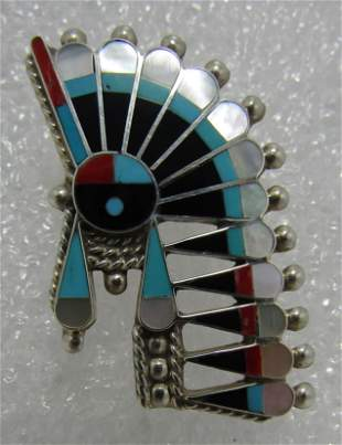 ZUNI INLAY TURQUOISE NECKLACE PIN STERLING SILVER