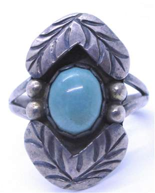 SIGNED MA TURQUOISE RING STERLING SILVER OLD PAWN