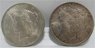 PAIR US SILVER DOLLARS 1896 1922 MORGAN AND PEACE