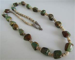OLD PAWN ROYSTON TURQUOISE NECKLACE STERLING SILVE