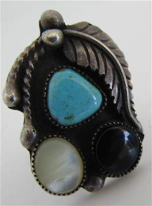 SQUASH BLOSSOM TURQUOISE MOP RING STERLING SILVER