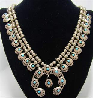 """""""EB"""" TURQUOISE SQUASH BLOSSOM STERLING NECKLACE"""