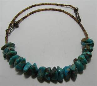 TURQUOISE NUGGET NECKLACE HEISHI BEADS STERLING