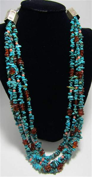 L BAHE 4 STRAND TURQUOISE NECKLACE STERLING SILVER