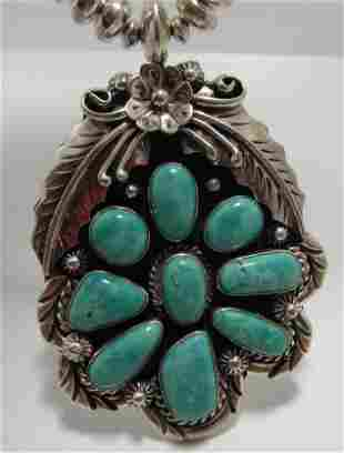 """M"""" STERLING TURQUOISE NAVAJO PEARL NECKLACE SILVER"""