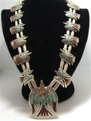 SIGNED YAZZIE TURQUOISE STERLING SQUASH BLOSSOM