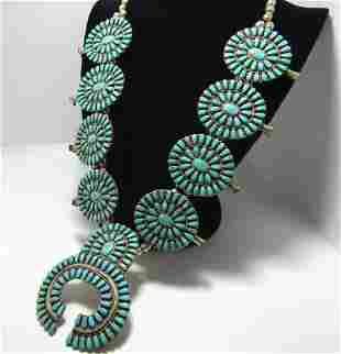 LARGE LM BEGAY TURQUOISE STERLING SQUASH BLOSSOM
