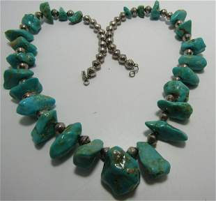 """TURQUOISE NUGGET NECKLACE STERLING SILVER 23 1/2"""""""