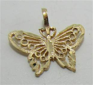 14K GOLD DIAMOND CUT BUTTERFLY NECKLACE PENDANT