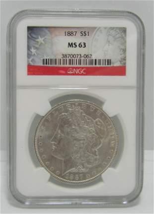 1887 MORGAN US SILVER DOLLAR COIN MS63