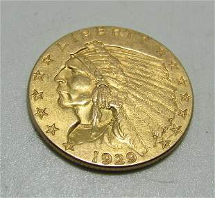 1929 2 1/2 DOLLAR INDIAN US GOLD COIN.