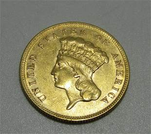 RARE US 3 DOLLAR GOLD COIN 1874