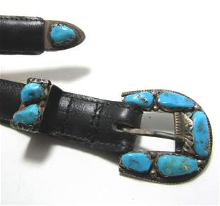 OLD PAWN PENKETEWA ZUNI TURQUOISE STERLING BELT