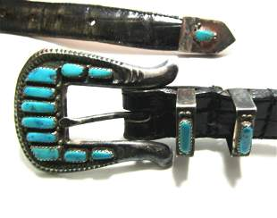 OLD PAWN LEEKITY ZUNI TURQUOISE STERLING BELT