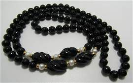 """14K GOLD - 8MM ONYX - 6MM PEARL BEAD NECKLACE 32"""""""