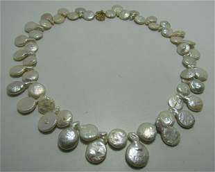 12MM CULTURED COIN PEARL NECKLACE 14K GOLD 17""