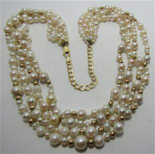 14K GOLD - 4 STRAND 3- 8MM PEARL NECKLACE 22""